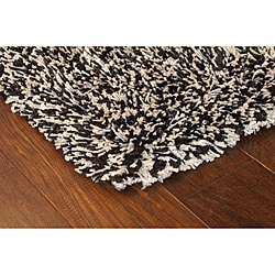 Manhattan Tweed Black/ Ivory Shag Rug (5' x 8')