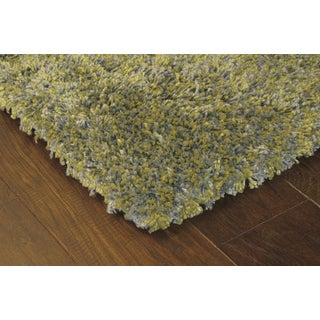Manhattan Tweed Green/ Blue Shag Rug (6'7 x 9'6)