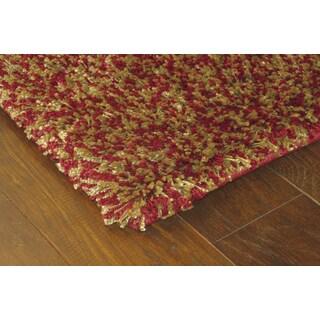 Manhattan Tweed Red/ Gold Shag Rug (6'7 x 9'6)