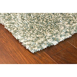Manhattan Contemporary Tweed Blue Shag Area Rug (6'7 x 9'6)