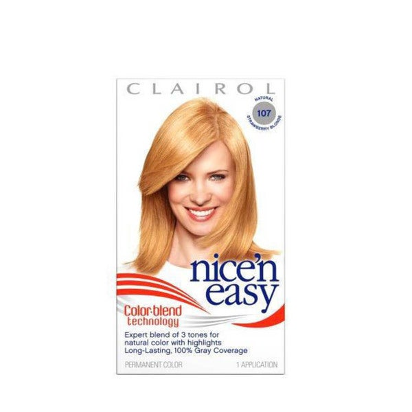 Clairol Nice N' Easy Colorblend #107 Strawberry Blonde Hair Color (Pack of 4)