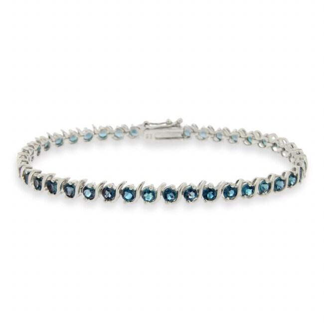 Glitzy Rocks Sterling Silver London Blue Topaz Tennis Bracelet