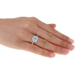Glitzy Rocks Silver 2 1/6 CTW Swiss Blue Topaz and Diamond Accent Square Ring