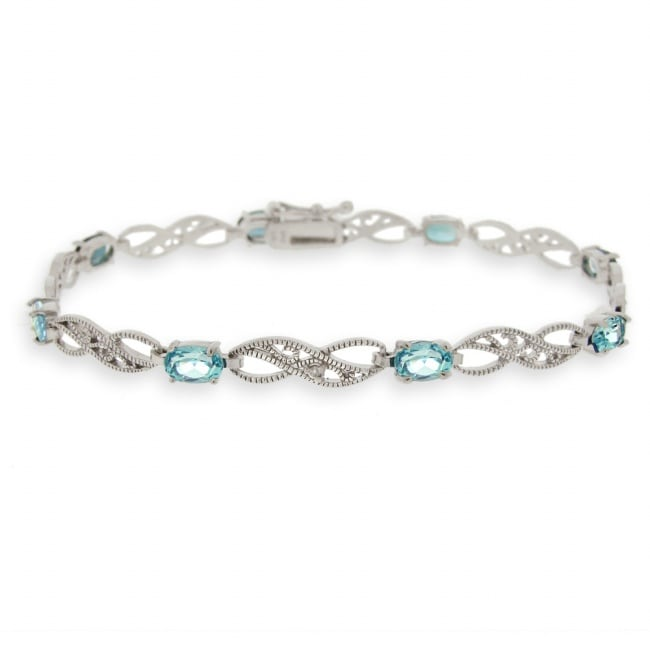 Glitzy Rocks Silver Swiss Blue Topaz and Diamond Infinity Bracelet