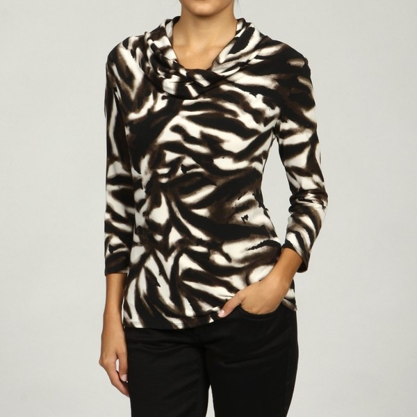 Grace Women's 3/4-length Sleeve Deep Cowl Neck Top