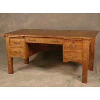Wood Revival Antique Brown 4-drawer Mission Legged Desk