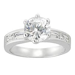 Journee Collection Silvertone Round and Baguette-cut CZ Ring