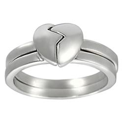 Silvertone Two-piece Heart Friendship Ring