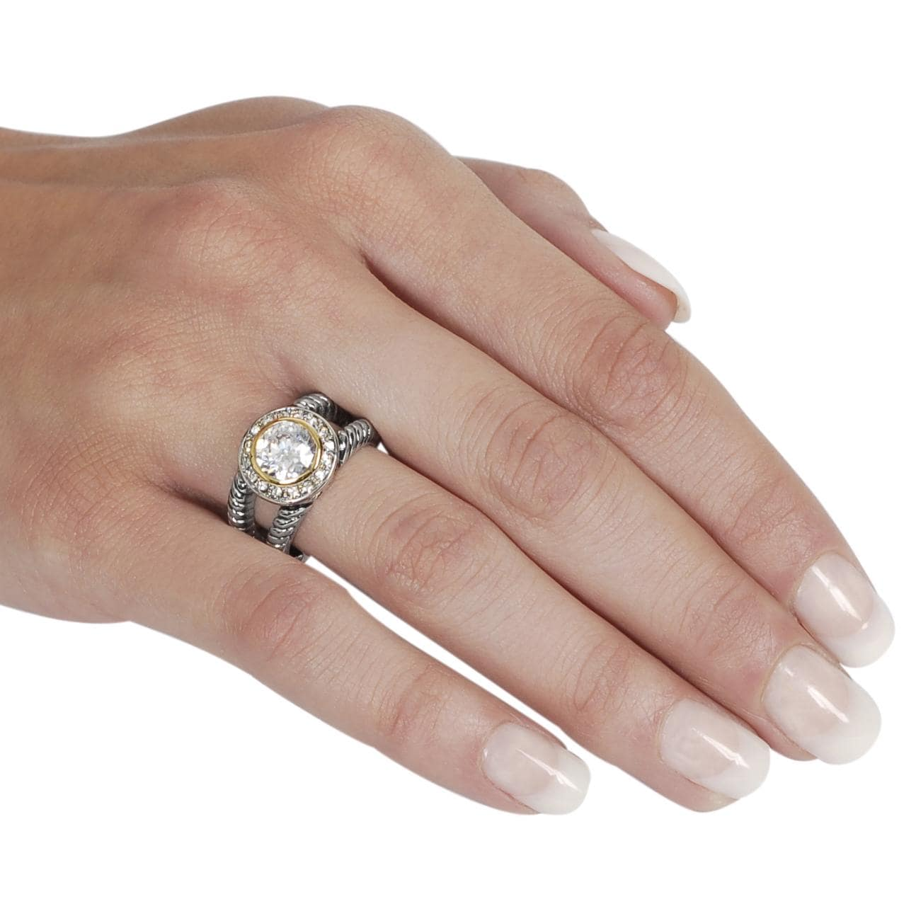 Silvertone and Goldtone Round-cut Cubic Zirconia Twist Ring