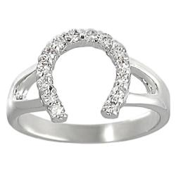 Journee Collection Silvertone Pave-set Cubic Zirconia Horseshoe Ring