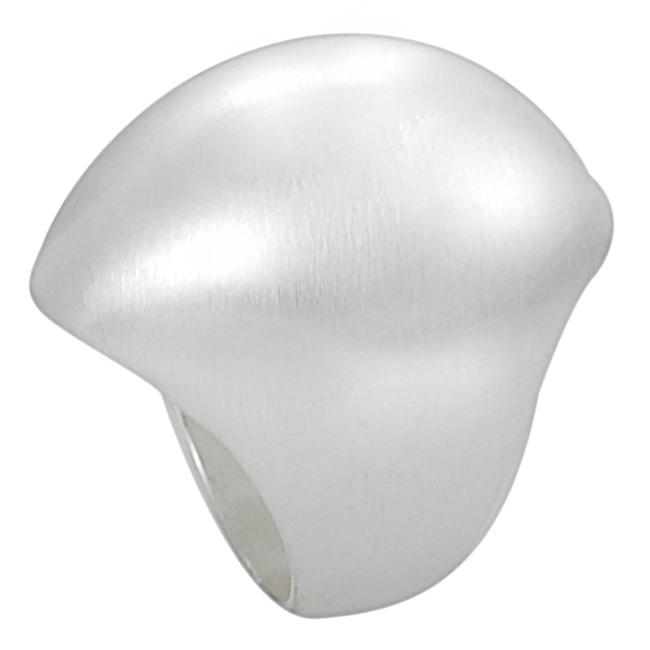 Silvertone Brushed Finish Oval-shaped Dome Ring