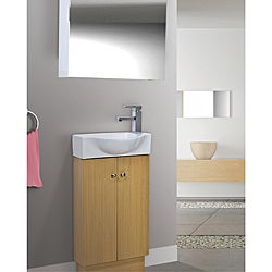 Glenwood 17 Inch Wood Yellow Oak/ White Bathroom Vanity