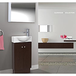 Glenwood 17 Inch Wood Wenge/ White Bathroom Vanity