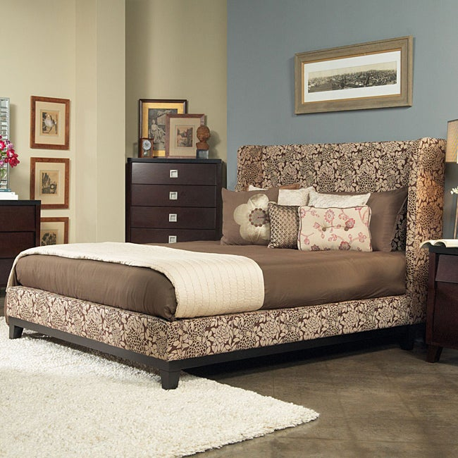 angelo:HOME Marlowe King-size Coffee and Cream Floral Fabric Shelter Bed