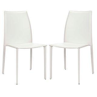 Safavieh Stackable Jazzy Vinyl Cream Side Chairs (Set of 2)