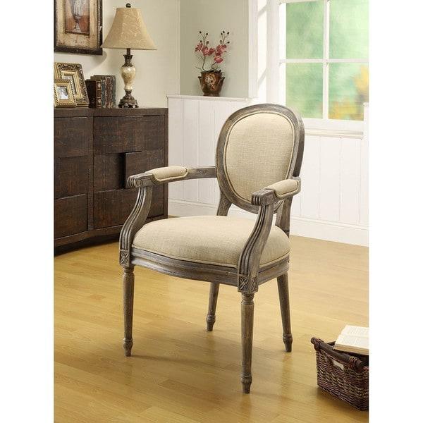 Oxford Beige Linen Arm Chair