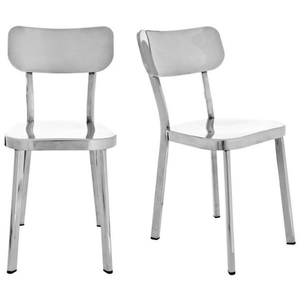 Safavieh Metropolitan Dining Orion Stainless Steel Side Chairs (Set of 2)