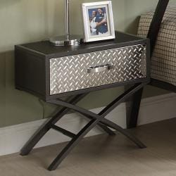 Carter Metal and Chrome X-frame Nightstand