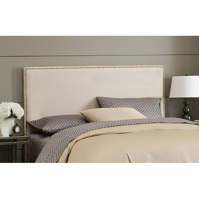 Made To Order Wrightwood King-size Oatmeal Micro-suede Nail Button Headboard