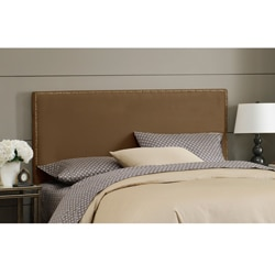 Wrightwood Queen-size Chocolate Micro-suede Nail Button Headboard