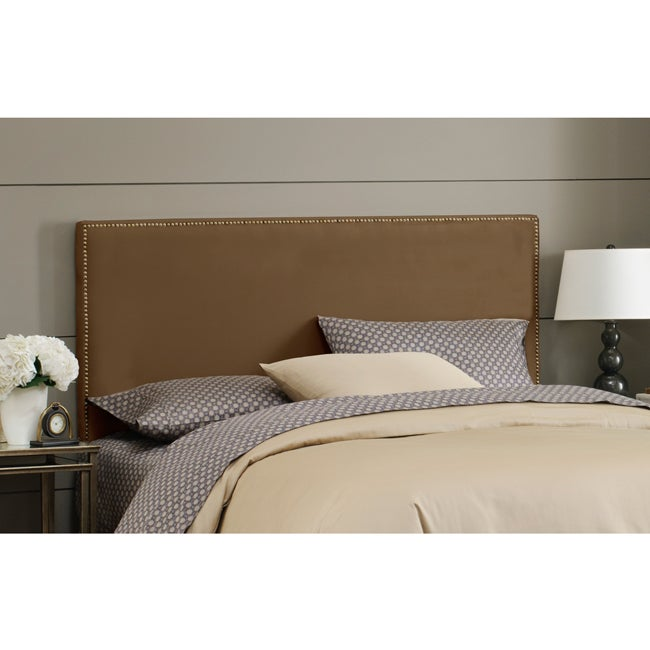 Skyline Furniture Burling Nail Button King Headboard in Micro-Suede Chocolate