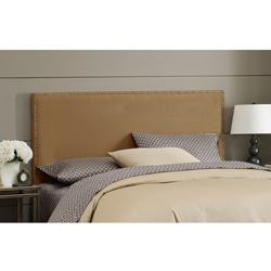 Wrightwood Full-size Khaki Micro-suede Nail Button Headboard