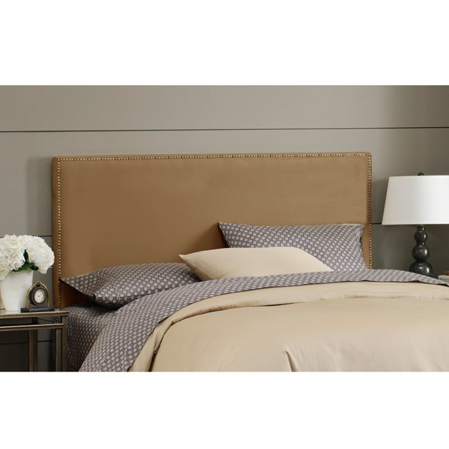 Skyline Furniture Burling Nail Button Queen Headboard in Micro-Suede Khaki