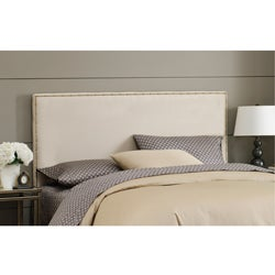 Wrightwood California King-size Oatmeal Micro-suede Nail Button Headboard