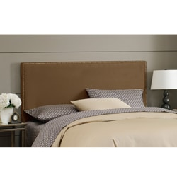 Wrightwood Twin-size Chocolate Micro-suede Nail Button Headboard