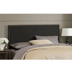 Wrightwood Twin-size Black Micro-suede Nail Button Headboard