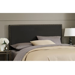 Wrightwood Queen-size Black Micro-suede Nail Button Headboard