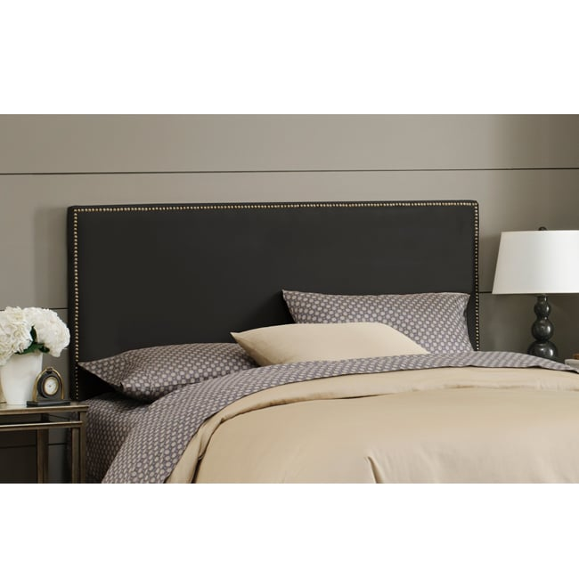 Skyline Furniture Burling Nail Button King Headboard in Micro-Suede Black