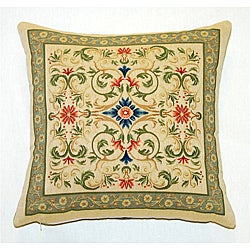 Corona Decor Belgian Woven Intricate Filigree Feather and Down Filled Decorative Throw Pillow