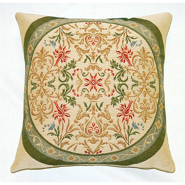 Corona Decor Belgian Woven Intricate Filigree Feather and Down Filled Decorative Pillow