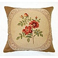 Corona Decor French Jacquard Woven Wool Rose Decorative Pillow