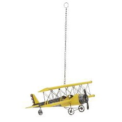 Yellow Antique Die-cast Metal Bi-plane Model