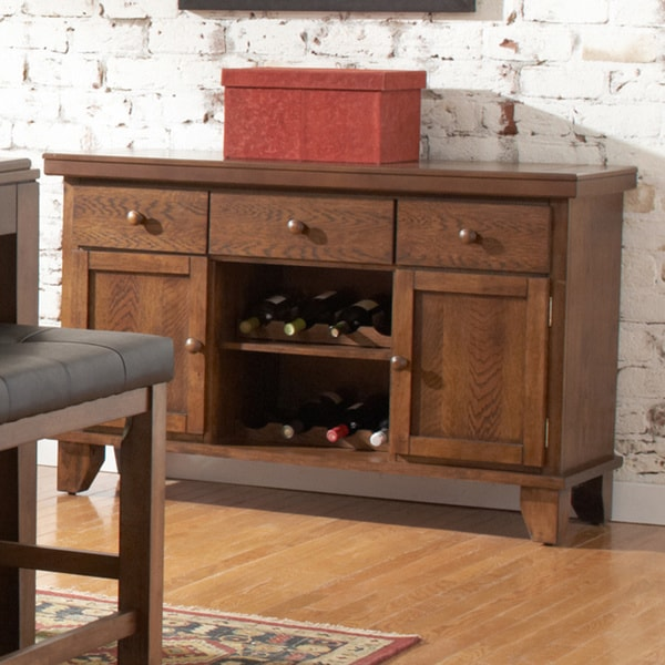 Tribecca Home Kai Oak Brown 3-drawer Wine Rack Storage Server