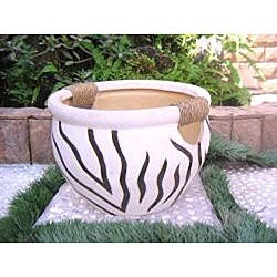 International Caravan Zebra Pattern Fishbowl Planters with Rope Wrapped Handles (Set of 5)