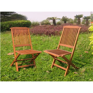 International Caravan Acacia Hardwood Folding Chairs (Set of 2)
