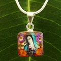 Silver Bouquet of Flower Lady of Guadalupe Small Necklace (Mexico)