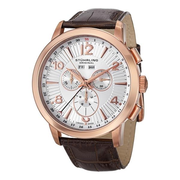 Stuhrling Original Men's Navigator de LeonSwiss Leather-Strap Quartz Chronograph Watch