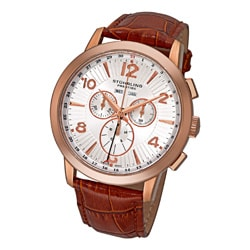 Stuhrling Original Men's Navigator de LeonSwiss Leather-Strap Quartz Chronograph Watch