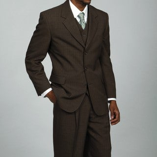 Phat Farm Men's Brown 3-button Vested Suit