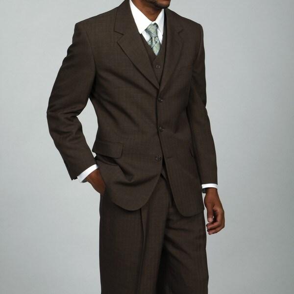 Phat Farm Men's Brown 3-button Vested Suit