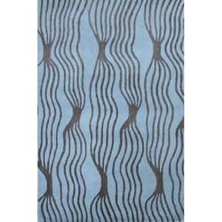 Hand-tufted Rocking Aqua Wool Rug (5' x 8')