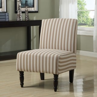 Lola Taupe Linen Stripe Armless Chair