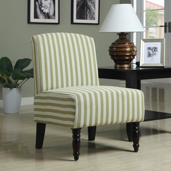 Lola Avocado Stripe Armless Chair