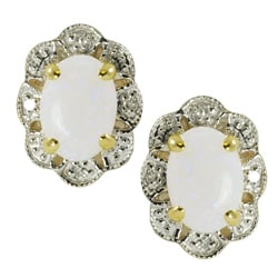 Gems For You 10k Gold Opal and Diamond Accent Stud Earrings (H-I, I-1)