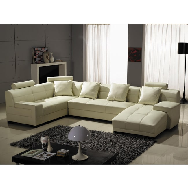 Sectional Sofa Sale Houston: Houston Ivory Leather 3-piece Sectional Sofa Set