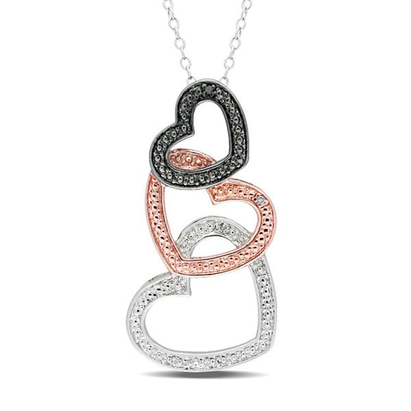 Miadora Sterling Silver 1/10ct TDW Black and White Diamond Heart Necklace (G-H, I2-I3)